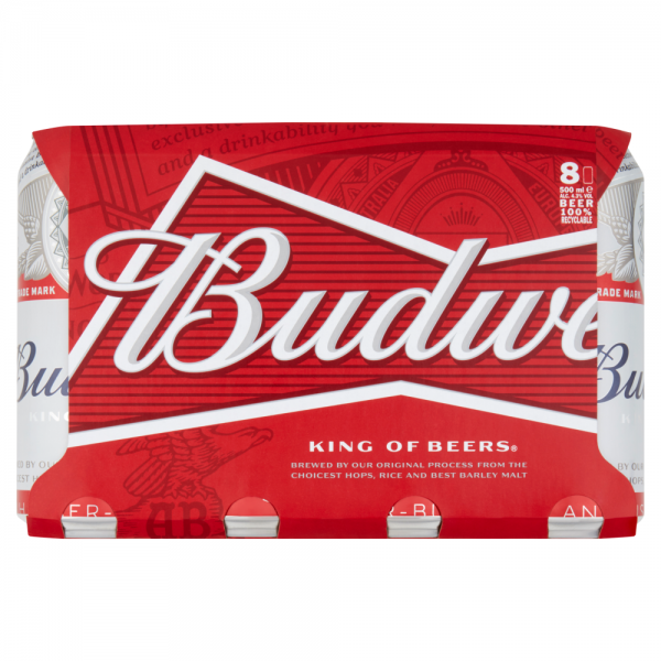 Budweiser 500ml 8 Pack ABV 4.3%