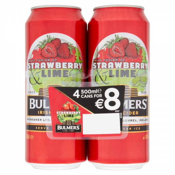 Bulmers Strawberry and Lime Can 4 Pack ABV 4%