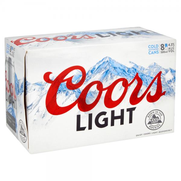 Coors Light 500ml 8 Pack ABV 4.3%