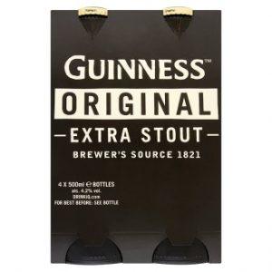 Guinness Extra Stout 500ml 4 Pack Bottle ABV 4.2%