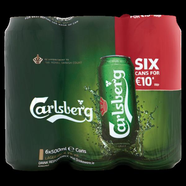 Carlsberg Can 500ml 6 Pack ABV 4.3%